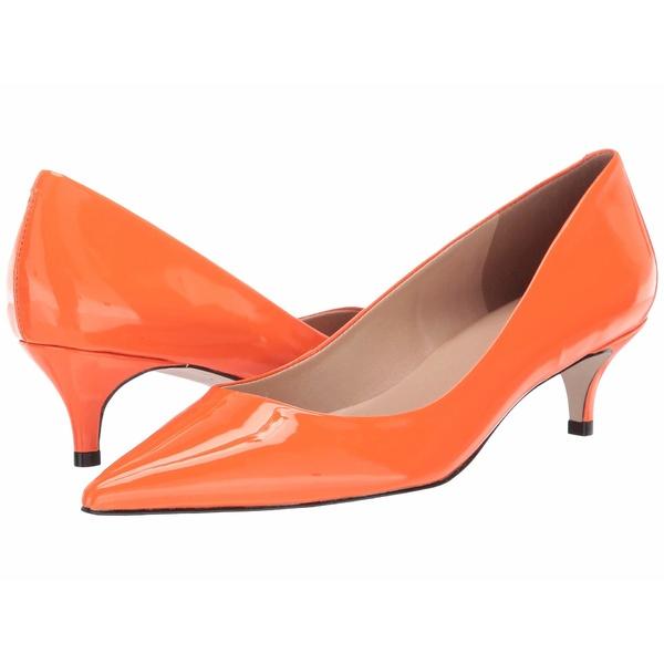 マッシモマッテエロ レディース ヒール シューズ Pointy Toe Kitten Heel Orange Patent