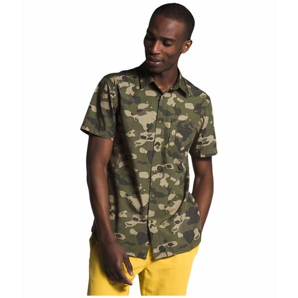 ノースフェイス メンズ シャツ トップス Short Sleeve Baytrail Pattern Shirt Burnt Olive Green Ponderosa Print