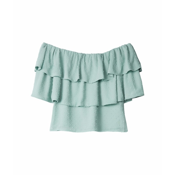 ワイフ レディース シャツ トップス Mandel Off-the-Shoulder Pop Over Top Mint Swiss Dot