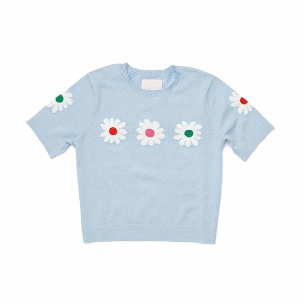 バンドー レディース ニット&セーター アウター Daisy Cropped Short Sleeve Sweater Blue