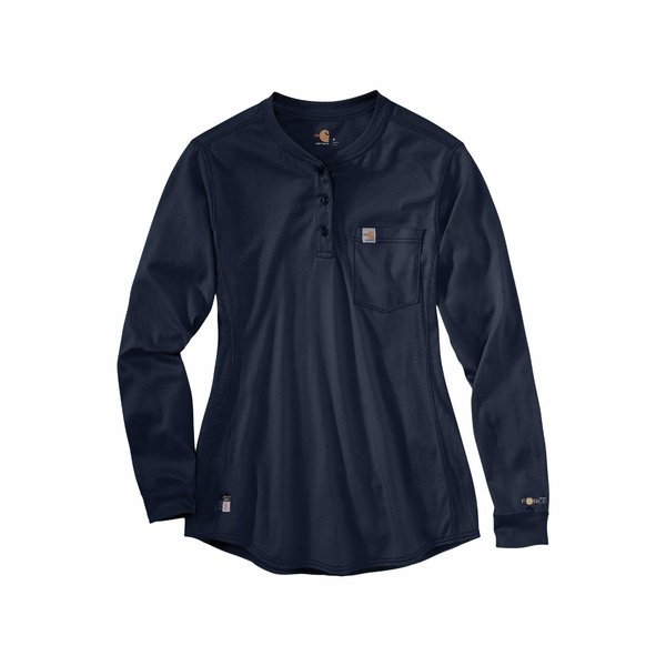 カーハート レディース シャツ トップス Flame-Resistant Force Cotton Long Sleeve Henley Dark Navy