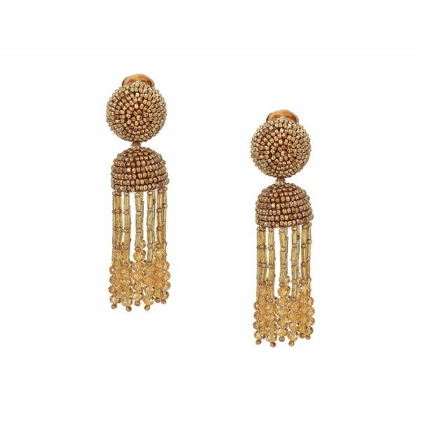 オスカー デ ラ レンタ レディース ピアス&イヤリング アクセサリー Short Beaded Tassel C Earrings Gold