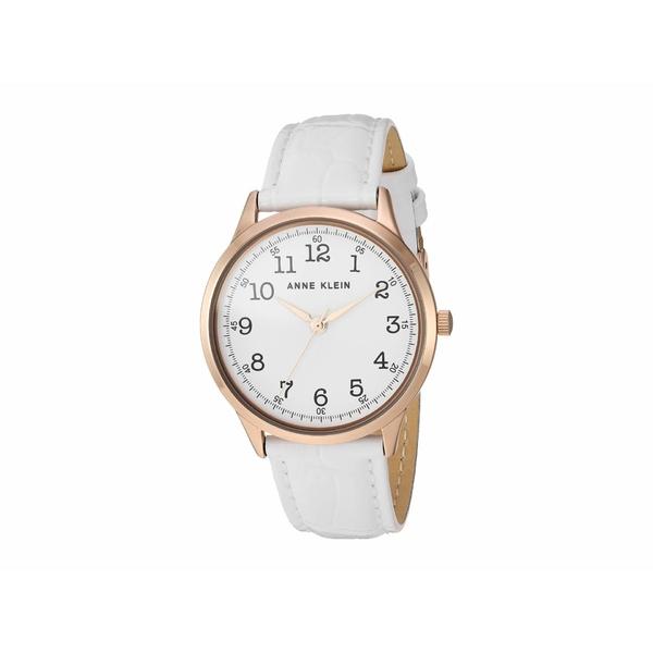 アンクライン レディース 腕時計 アクセサリー Leather Strap Watch White/Rose Gold-Tone