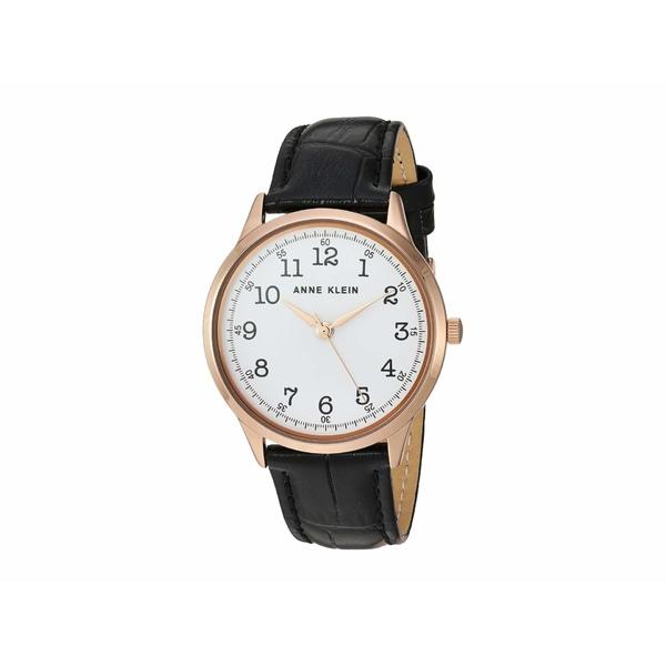 アンクライン レディース 腕時計 アクセサリー Leather Strap Watch Black/Rose Gold-Tone