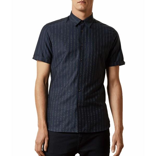 テッドベーカー メンズ シャツ トップス Handeez Short Sleeve Dotted Stripe Shirt Navy