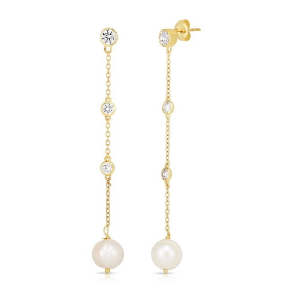 GOLD CZ スフラミラノ YELLOW Drop ピアス&イヤリング Pearl Plated Gold Silver レディース Earrings Freshwater アクセサリー & Sterling 14K