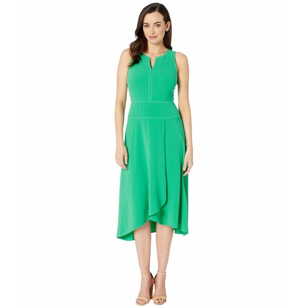 ドナモーガン レディース ワンピース トップス High Twist Stretch Lightweight Crepe Midi Dress w/ Asymmetrical Hem Bright Jade