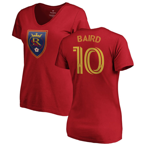 ファナティクス レディース Tシャツ トップス Real Salt Lake Fanatics Branded Women's Personalized Authentic Name & Number VNeck TShirt Red