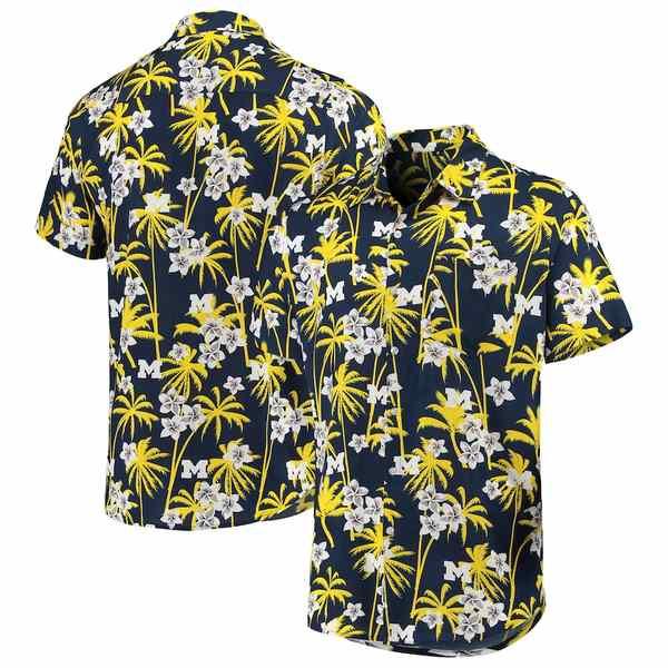 フォコ メンズ シャツ トップス Michigan Wolverines College Floral Button-Up Shirt Navy