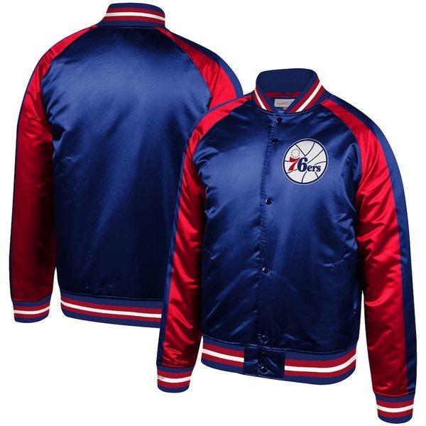 ミッチェル&ネス メンズ ジャケット&ブルゾン アウター Philadelphia 76ers Mitchell & Ness Hardwood Classics Colorblock Satin Raglan Full-Snap Jacket Royal