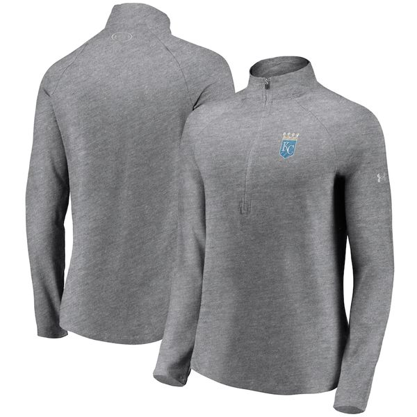 アンダーアーマー レディース ジャケット&ブルゾン アウター Kansas City Royals Under Armour Women's Passion Alternate Performance Tri-Blend Raglan Half-Zip Pullover Jacket Heathered Gray