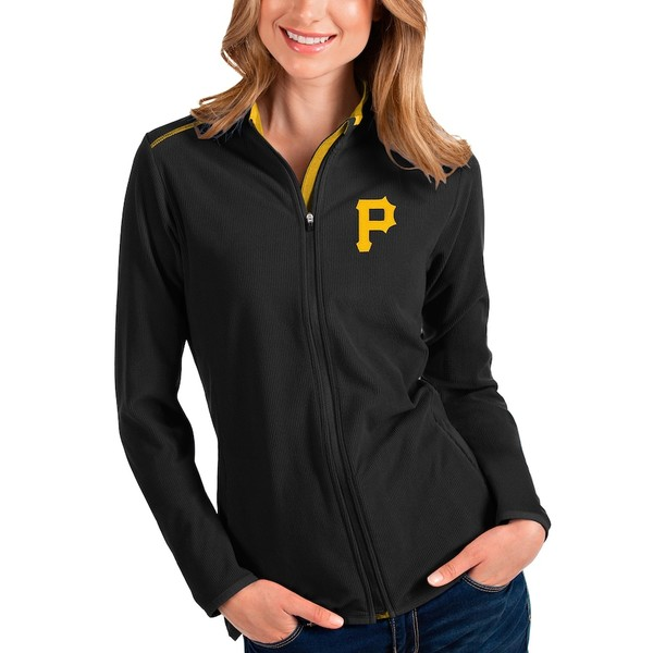 アンティグア レディース シャツ トップス Pittsburgh Pirates Antigua Women's Glacier Full-Zip Jacket Black