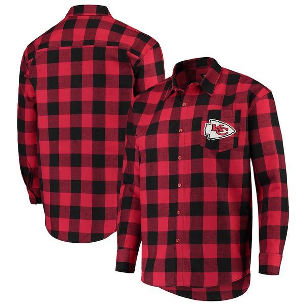 フォコ メンズ シャツ トップス Kansas City Chiefs Large Check Flannel Button-Up Shirt Red