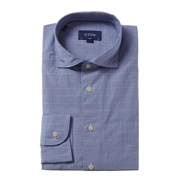 エトン メンズ トップス シャツ blue glen plaid Shirt Fit Slim Eton 全商品無料サイズ交換 Dress アウトレット 在庫一掃