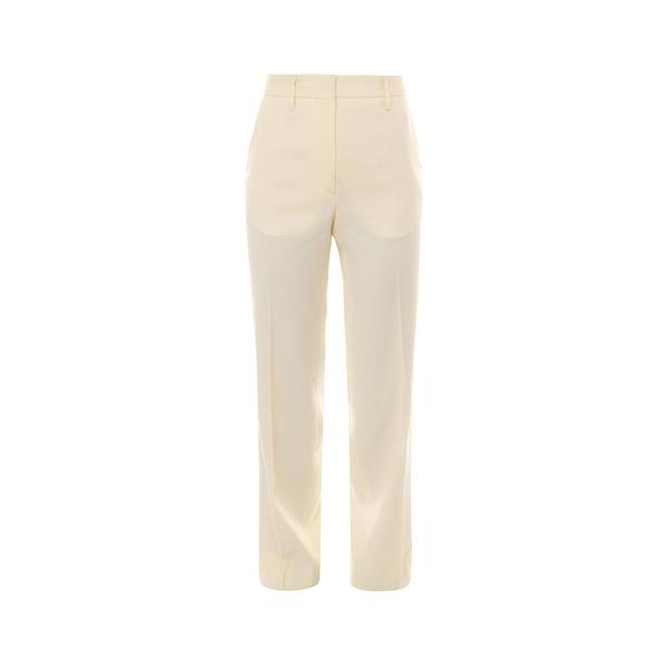 【あすつく】 オフホワイト レディース カジュアルパンツ ボトムス Off-White Straight-Leg Trousers -, めでぃかるもっちーず 3181b3ba