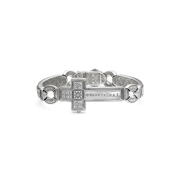 コンスタンティーノ メンズ ブレスレット・バングル・アンクレット アクセサリー 'Silver Classics' Metal Cross Bracelet Silver