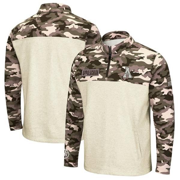 コロシアム メンズ ジャケット&ブルゾン アウター Appalachian State Mountaineers Colosseum OHT Military Appreciation Desert Camo Quarter-Zip Pullover Jacket Oatmeal