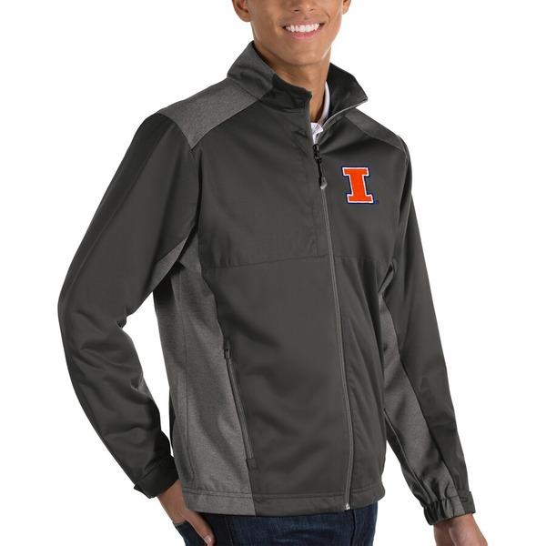 アンティグア メンズ ジャケット&ブルゾン アウター Illinois Fighting Illini Antigua Revolve Full-Zip Jacket Charcoal