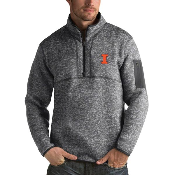 アンティグア メンズ ジャケット&ブルゾン アウター Illinois Fighting Illini Antigua Fortune 1/2-Zip Pullover Sweater Heathered Charcoal