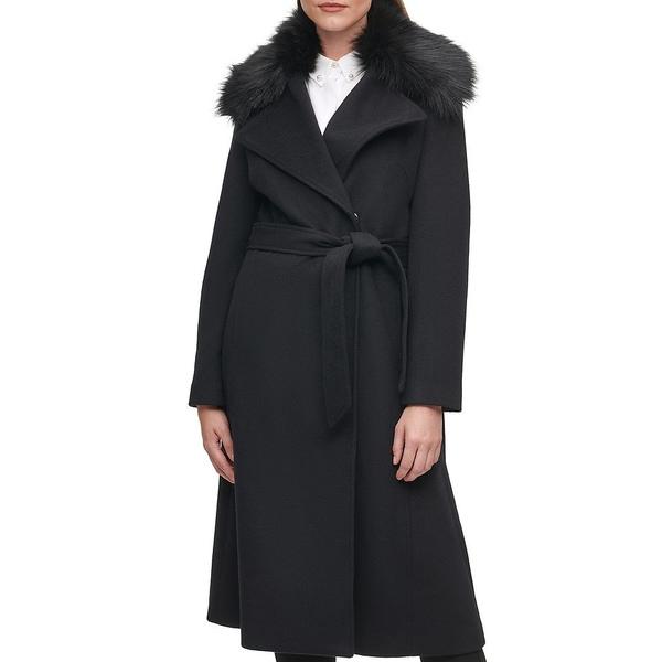 堅実な究極の カールラガーフェルド レディース コート アウター Faux Fur Collar Wool Blend Wrap Coat Black, ネットでレンタル 花庵 1c5e0591
