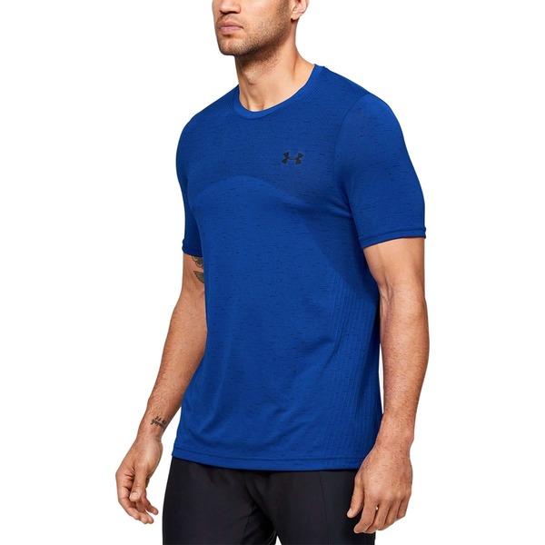 アンダーアーマー メンズ シャツ トップス Seamless Short-Sleeve Shirt - Men's Versa Blue/Black