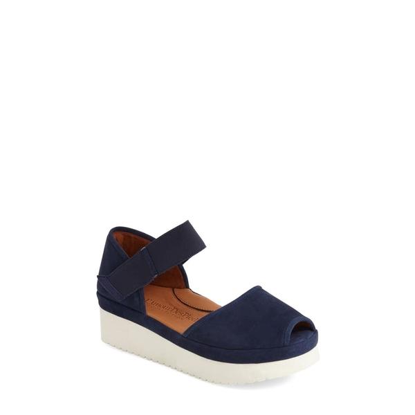 ラモールドピード レディース サンダル シューズ Amadour Platform Sandal Navy Suede Leather