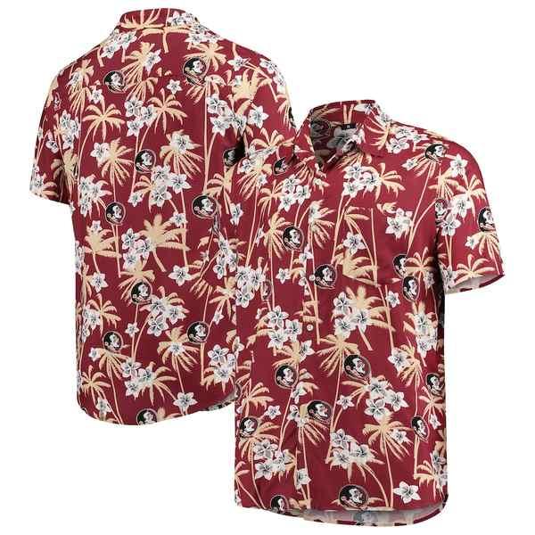 フォコ メンズ シャツ トップス Florida State Seminoles College Floral Button-Up Shirt Garnet