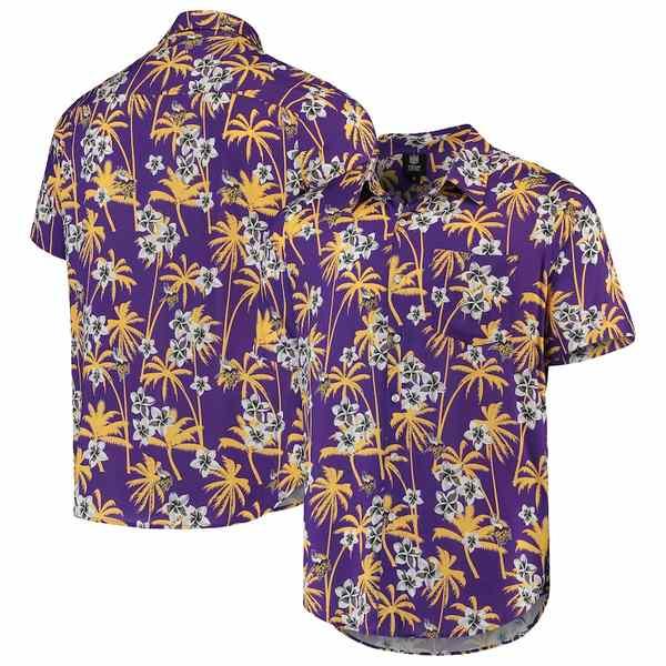 フォコ メンズ シャツ トップス Minnesota Vikings Floral Woven Button-Up Shirt Purple