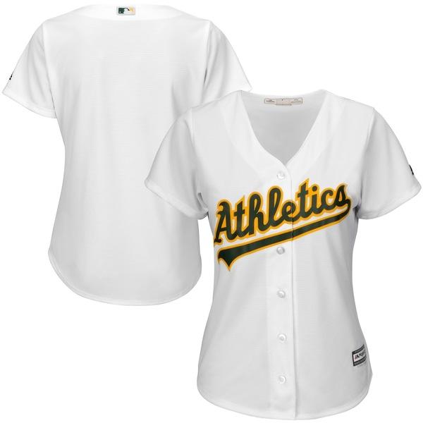 マジェスティック レディース シャツ トップス Oakland Athletics Majestic Women's Cool Base Jersey White