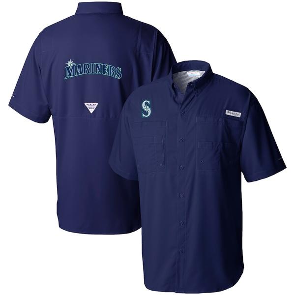 コロンビア メンズ シャツ トップス Seattle Mariners Columbia Tamiami Omni-Shade Button-Down Shirt Navy