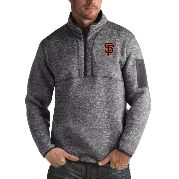 アンティグア メンズ ジャケット&ブルゾン アウター San Francisco Giants Antigua Fortune Big & Tall Quarter-Zip Pullover Jacket Heather Charcoal