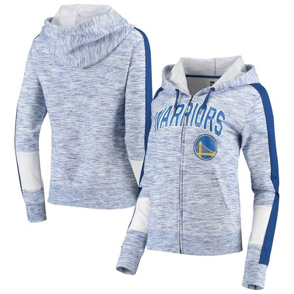 ニューエラ レディース ジャケット&ブルゾン アウター Golden State Warriors New Era Women's Space Dye Full-Zip Hoodie Heathered Royal