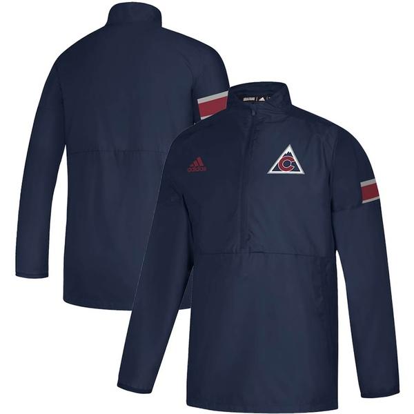 アディダス メンズ ジャケット&ブルゾン アウター Colorado Avalanche adidas Game Mode Quarter-Zip Pullover Jacket Navy