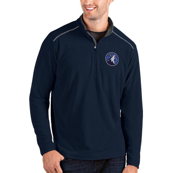 アンティグア メンズ ジャケット&ブルゾン アウター Minnesota Timberwolves Antigua Glacier Quarter-Zip Pullover Jacket Navy/Gray
