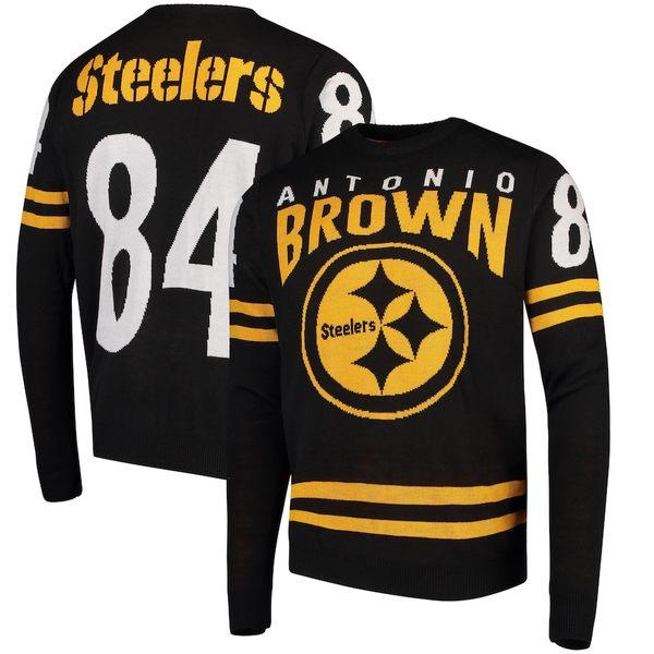 フォコ メンズ シャツ トップス Antonio Brown Pittsburgh Steelers Player Name & Number Sweater Black