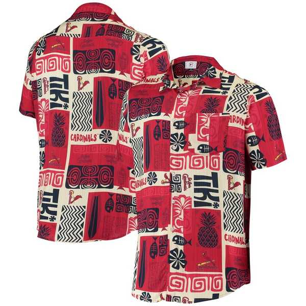 フォコ メンズ シャツ トップス St. Louis Cardinals Tiki Button-Up Shirt Red