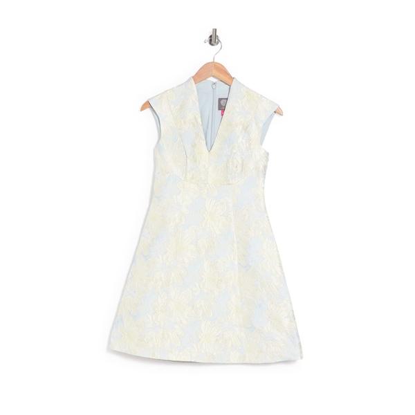ヴィンスカムート レディース 信頼 トップス ワンピース SKY SILVER Fit Dress V-Neck Jacquard Flare 全商品無料サイズ交換 品質保証