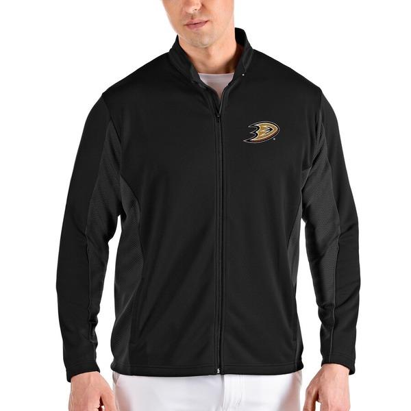 アンティグア メンズ ジャケット&ブルゾン アウター Anaheim Ducks Antigua Passage Full-Zip Jacket Black/Gray