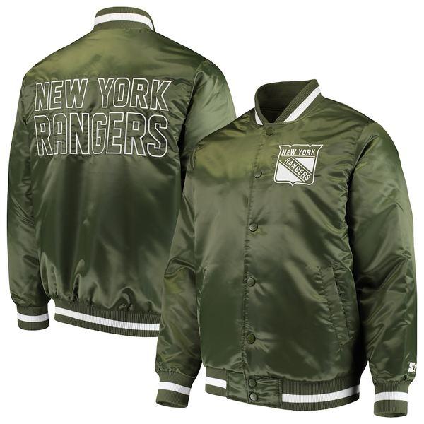 スターター メンズ ジャケット&ブルゾン アウター New York Rangers Starter Satin Full-Snap Jacket Green