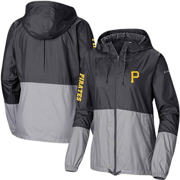 コロンビア レディース ジャケット&ブルゾン アウター Pittsburgh Pirates Columbia Women's Flash Forward Windbreaker Full-Zip Jacket Black