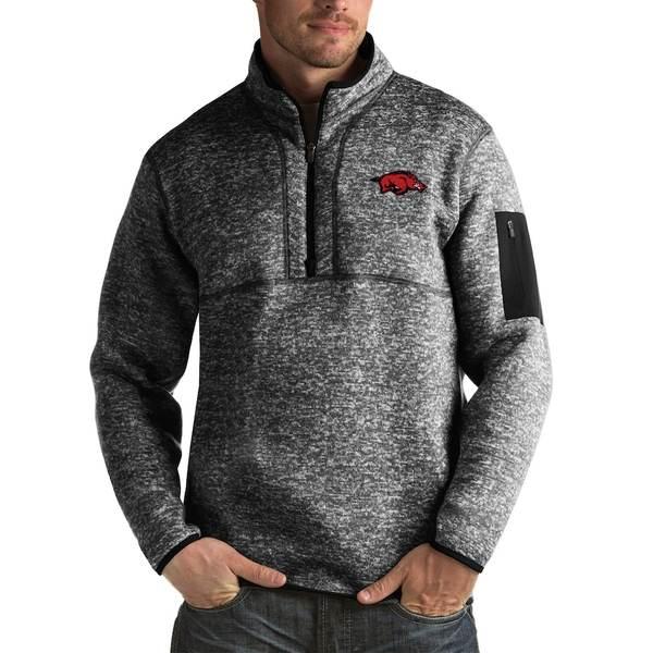 アンティグア メンズ ジャケット&ブルゾン アウター Arkansas Razorbacks Antigua Fortune Big & Tall Quarter-Zip Pullover Jacket Black