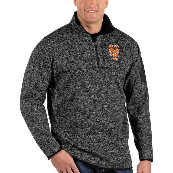 アンティグア メンズ ジャケット&ブルゾン アウター New York Mets Antigua Fortune Big & Tall Quarter-Zip Pullover Jacket Heather Black