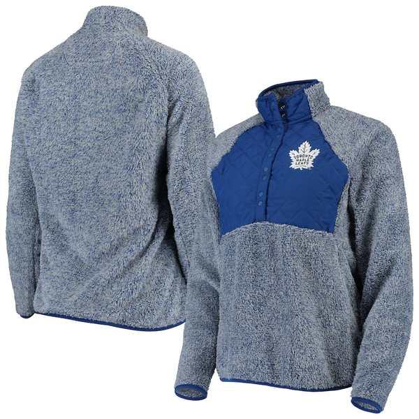 アンティグア レディース ジャケット&ブルゾン アウター Toronto Maple Leafs Antigua Women's Surround Sherpa Quarter-Snap Pullover Jacket Blue/Heathered Gray