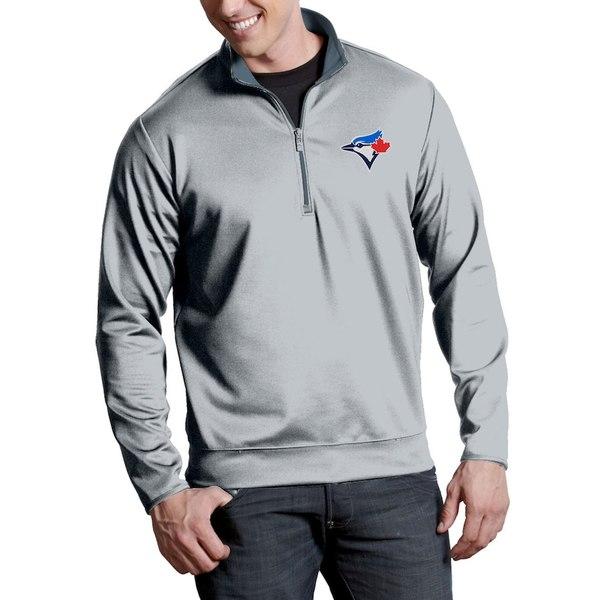 アンティグア メンズ ジャケット&ブルゾン アウター Toronto Blue Jays Antigua Leader Quarter-Zip Pullover Jacket Silver