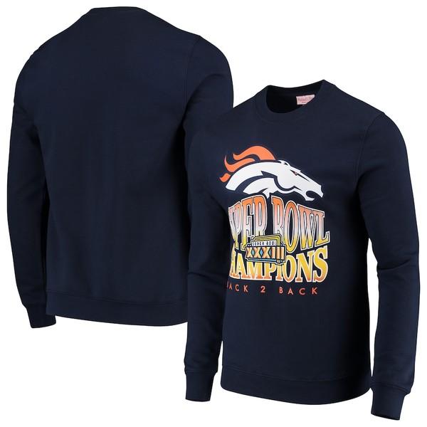 ミッチェル&ネス メンズ パーカー・スウェットシャツ アウター Denver Broncos Mitchell & Ness All-Time Great Pullover Sweatshirt Navy
