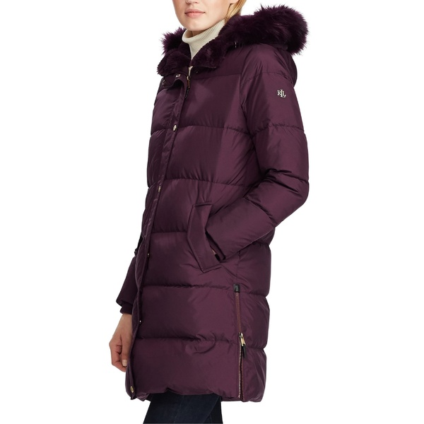 ラルフローレン レディース コート アウター Lauren Ralph Lauren Faux Fur Trim Quilted Hooded Down & Feather Parka Burgundy