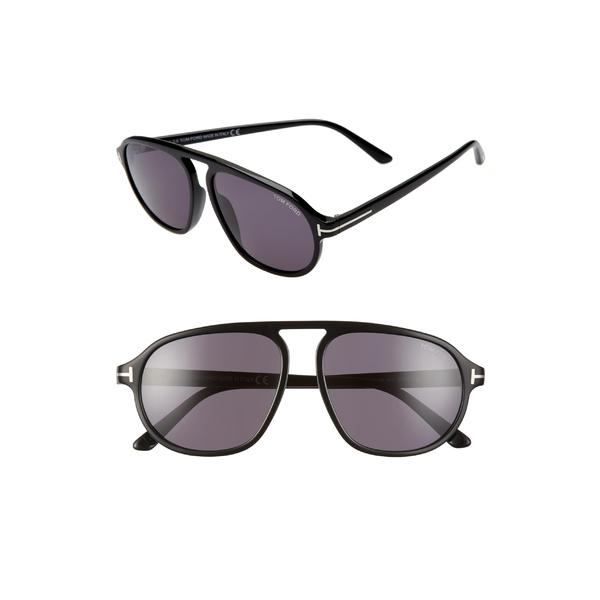 トム・フォード レディース サングラス&アイウェア アクセサリー Tom Ford Harrison 57mm Aviator Sunglasses Shiny Black/ Smoke