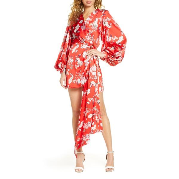 ブロンクスアンドバンコ レディース ワンピース トップス Bronx and Banco Tokyo Long Sleeve Silk Blend Minidress Red
