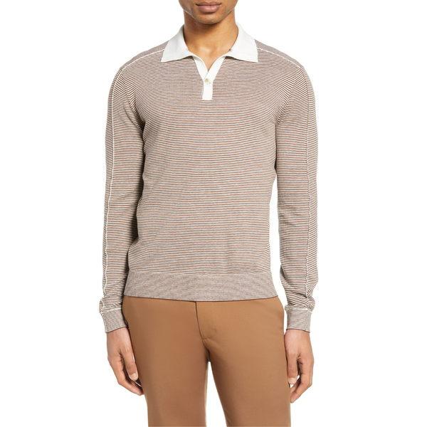 クラブ モナコ メンズ ポロシャツ トップス Club Monaco Stripe Long Sleeve Polo Brown/ Grey