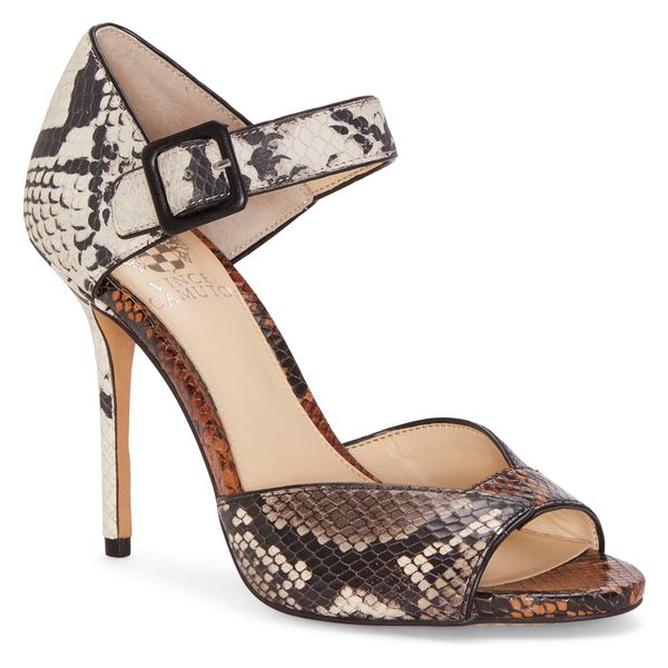 ヴィンスカムート レディース サンダル シューズ Vince Camuto Sessen Ankle Strap Sandal (Women) Black/ White/ Wheat Leather